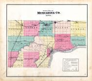 Muscatine County Outline Map, Muscatine County 1874